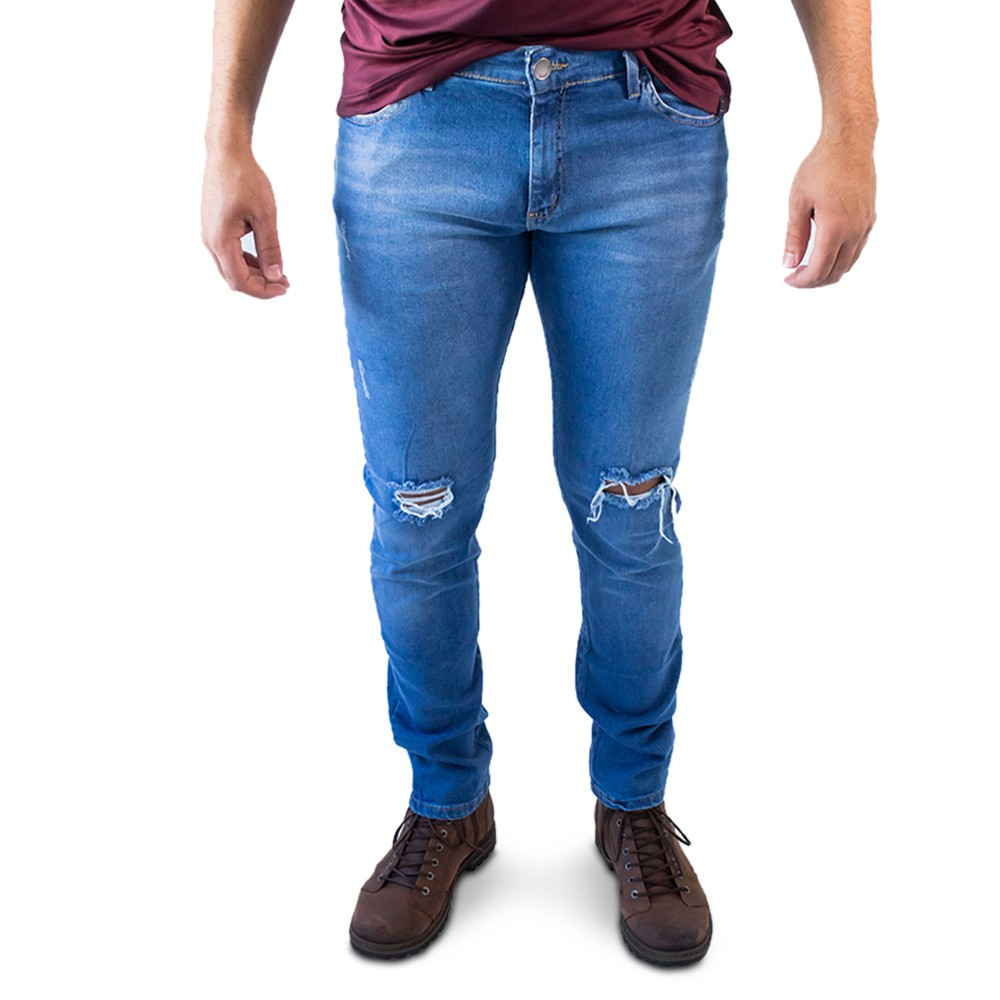 Calça Jeans Masculina Skinny Destroyed Elastano Anticorpus