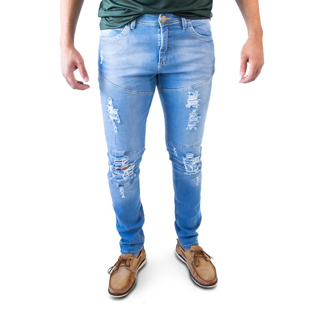 Calça Jeans Masculina Super Skinny Destroyed Anticorpus
