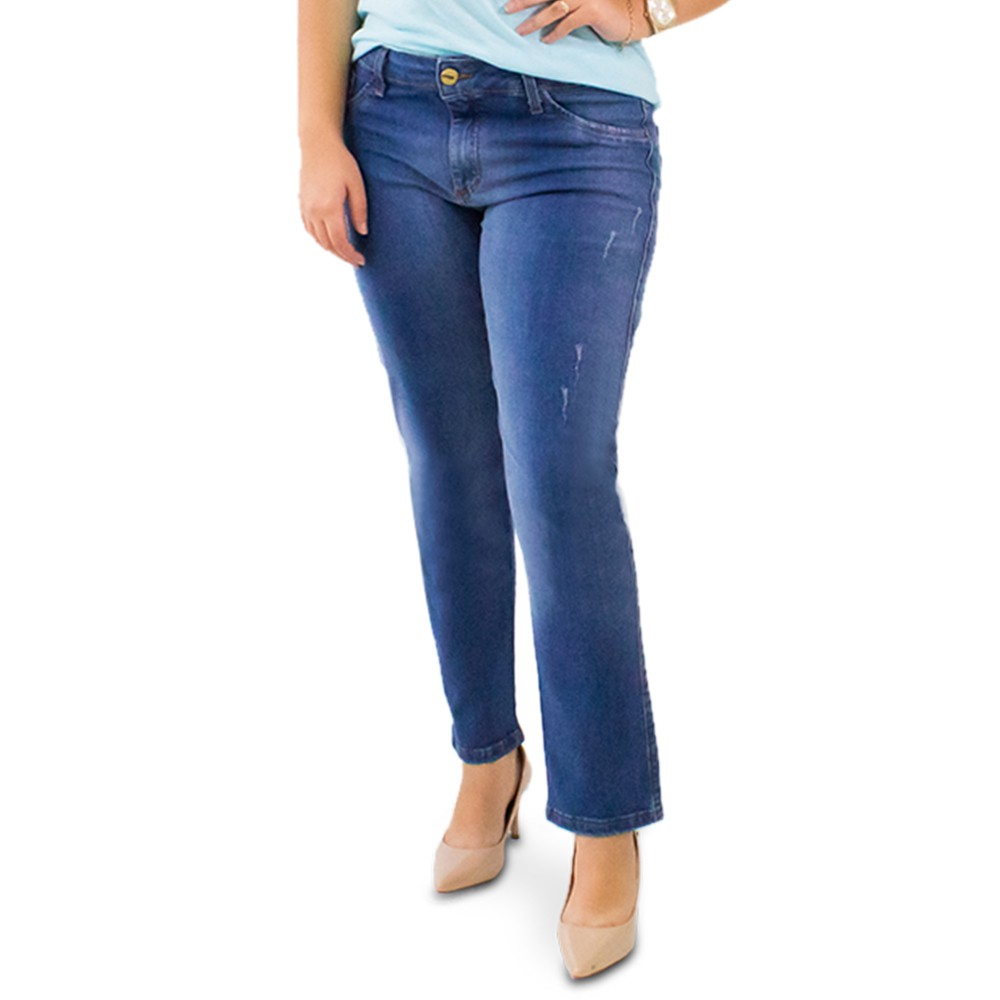 Calça Jeans Puídos Cropped Plus Size Cintura Media Anticorpus