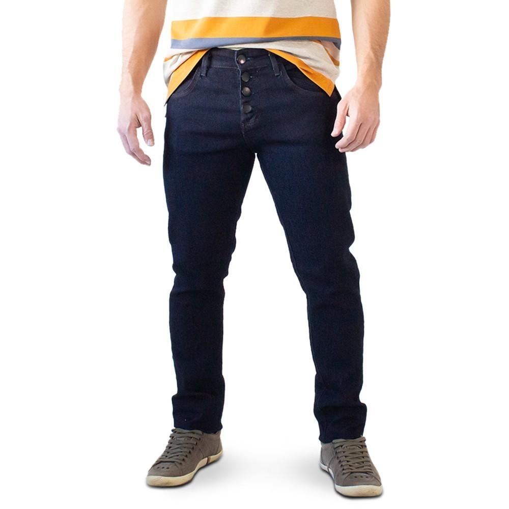 Calça Masculina Jeans Escuro Super Skinny Botões Anticorpus