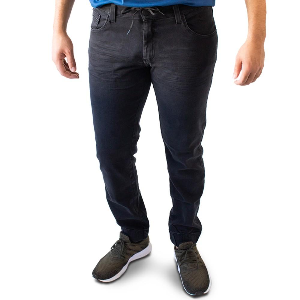 Calça Masculina Jogger Jeans Preto Elastano Anticorpus