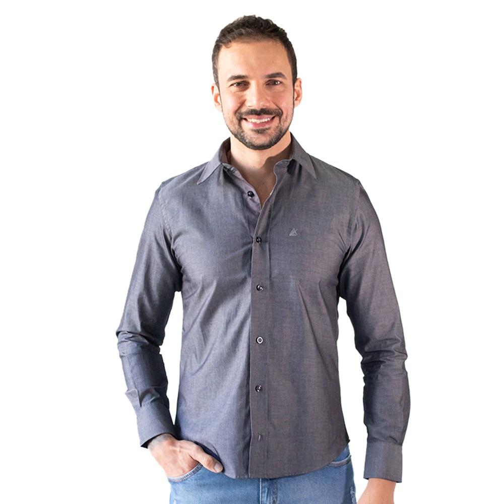 Camisa Masculina Social Cinza Manga Longa Algodão Anticorpus
