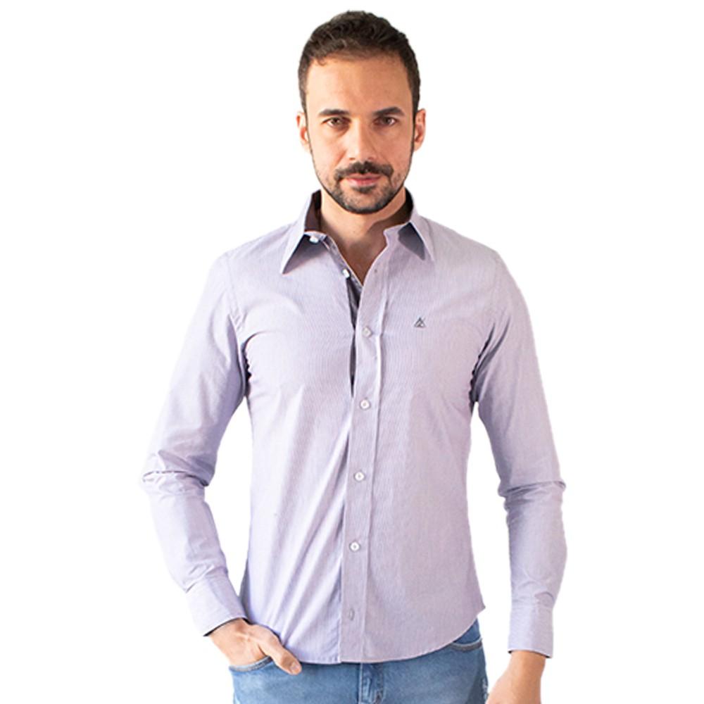 Camisa Masculina Social Lilás Manga Longa Algodão Anticorpus