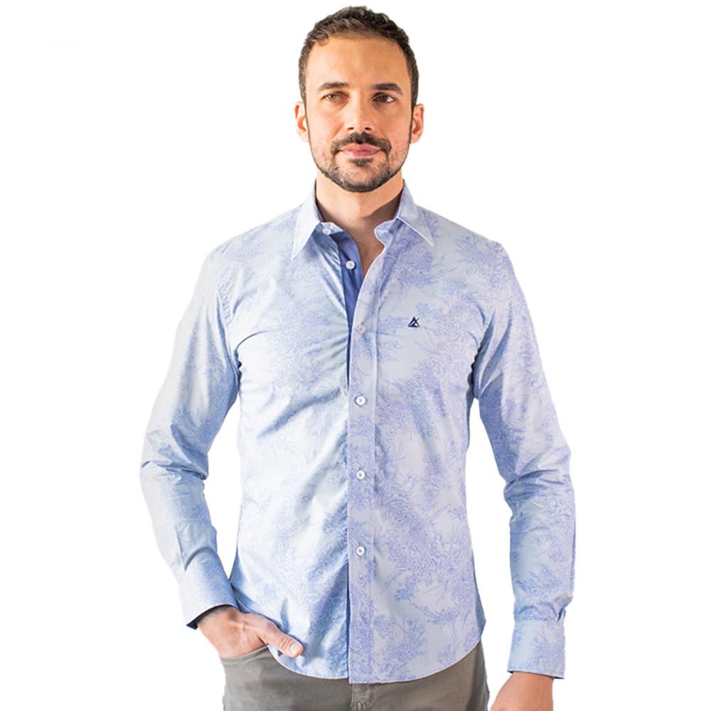 Camisa Masculina Social Manga Longa Azul Algodão Anticorpus
