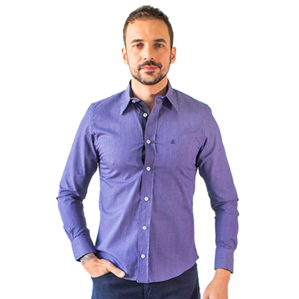 Camisa Masculina Social Roxa Manga Longa Algodão Anticorpus