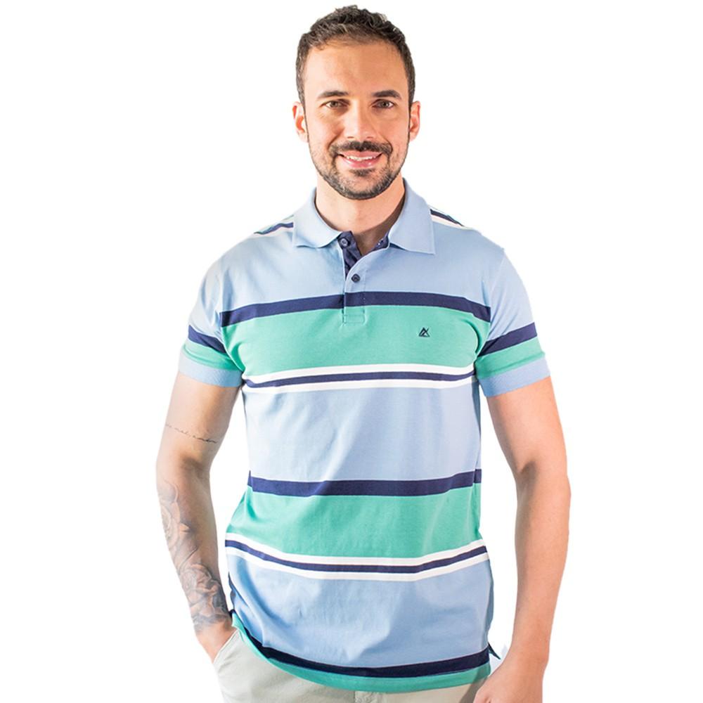 Camisa Polo Listrada Tradicional Algodão Elastano Anticorpus