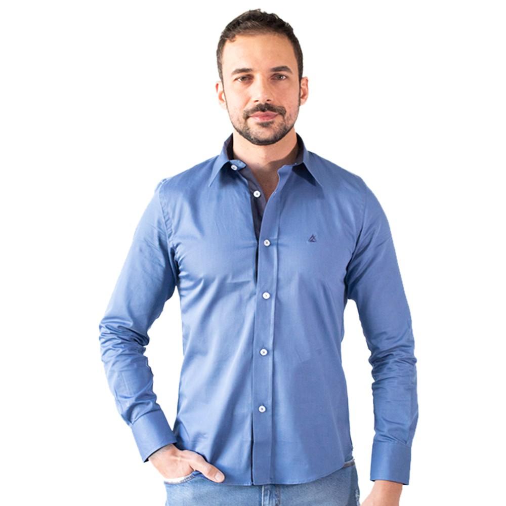 Camisa Social Masculina Azul Manga Longa Algodão Anticorpus