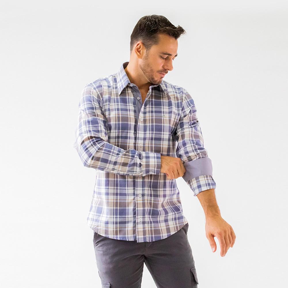 Camisa Social Masculina Estruturada Xadrez Manga Longa Anticorpus