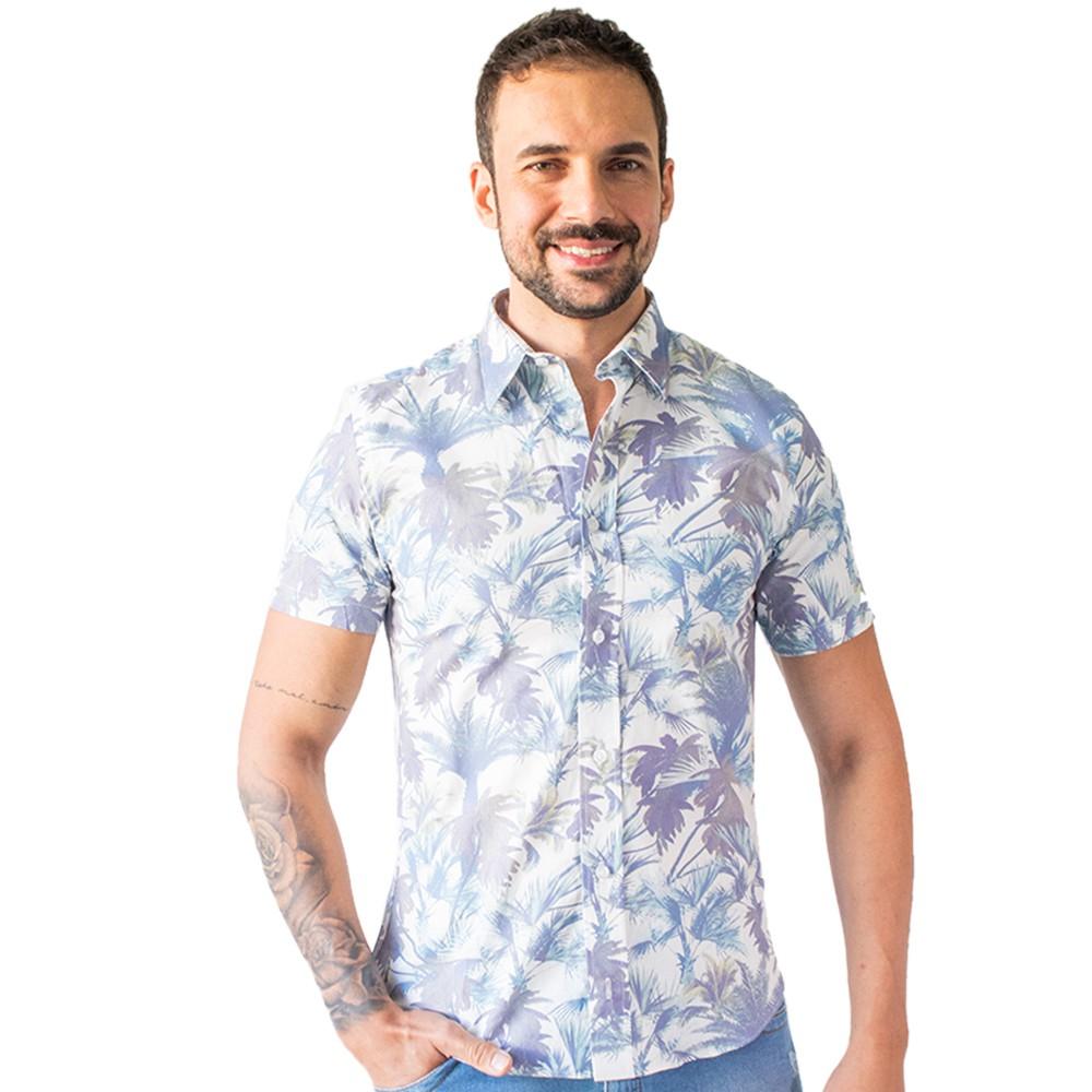 Camisa Social Masculina Manga Curta Algodão Estampa Anticorpus