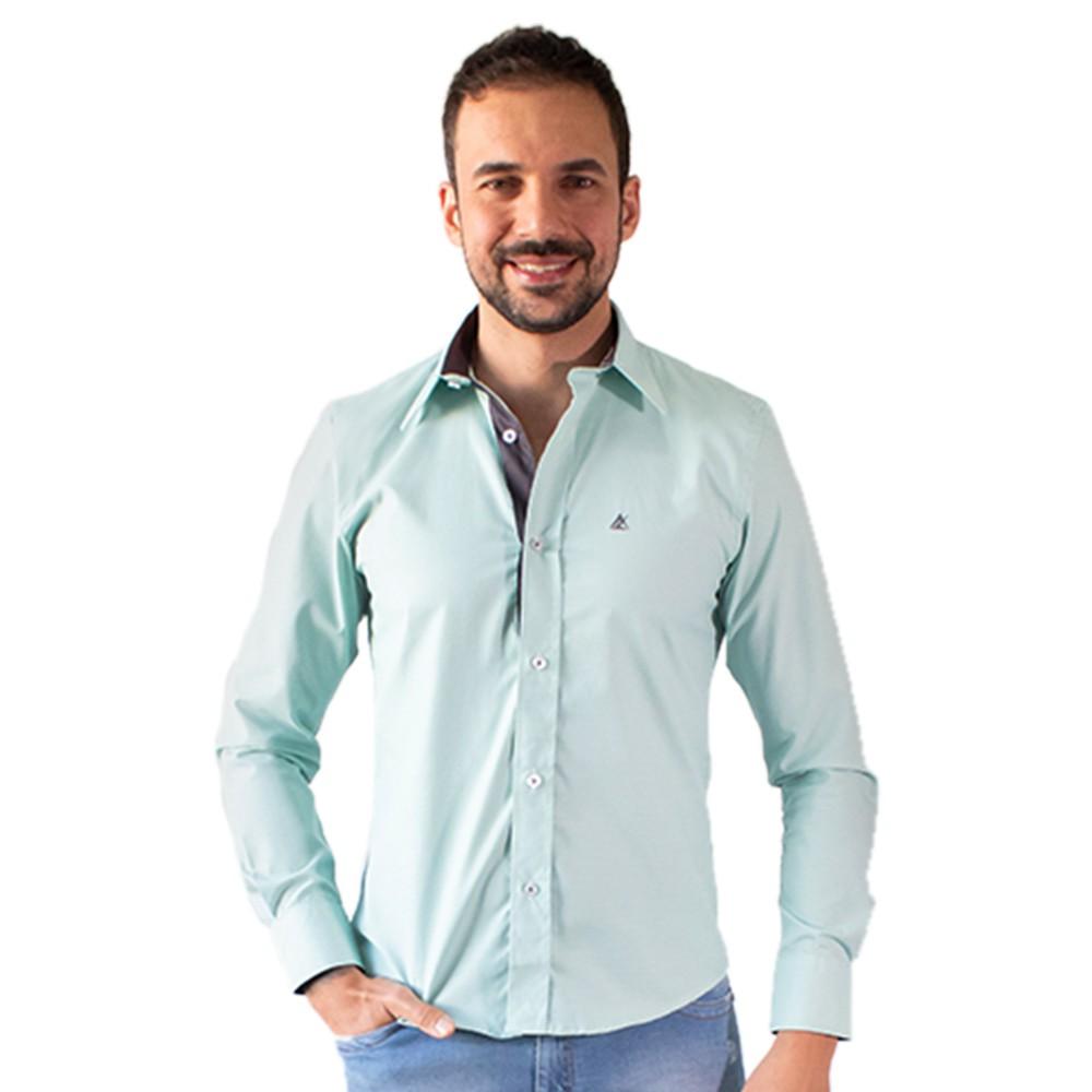 Camisa Social Masculina Verde Claro Manga Longa Algodão Anticorpus