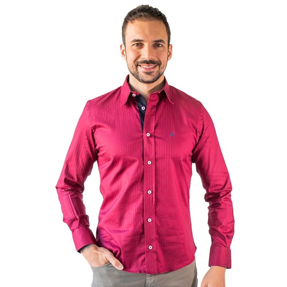 Camisa Social Masculina Vinho Manga Longa Algodão Anticorpus