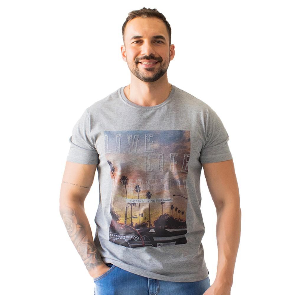 T-Shirt Masculina Malha Estampa Live Life Algodão Anticorpus