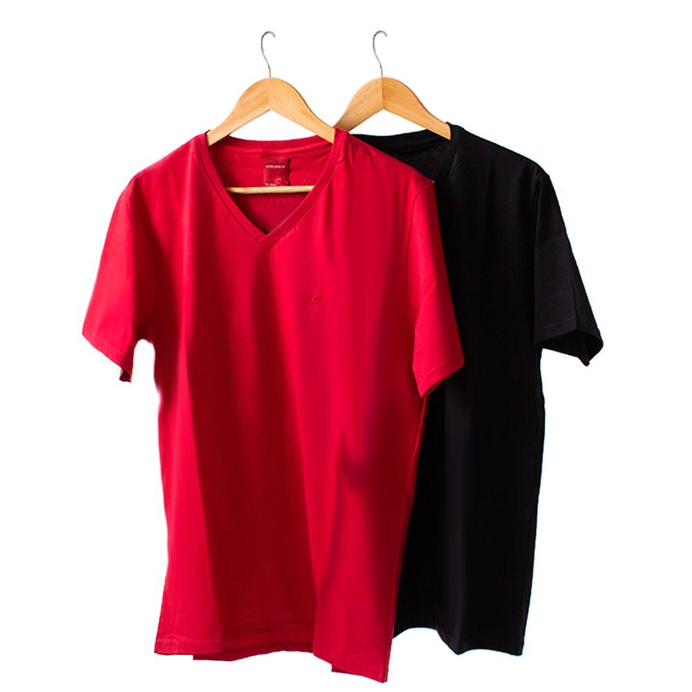 Kit 2 Camiseta Masculina Básica Gola V Manga Curta Algodão Anticorpus