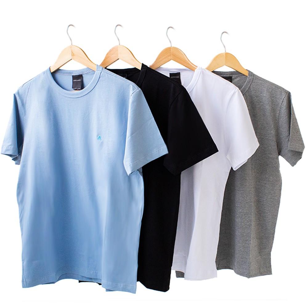 Kit 4 Camiseta Masculina Básica Manga Curta Algodão Anticorpus