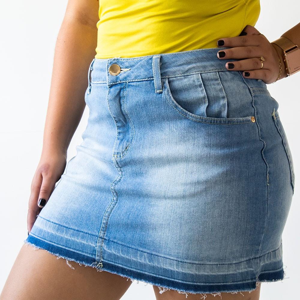 Saia Curta Feminina Jeans Barra Desfiada Anticorpus