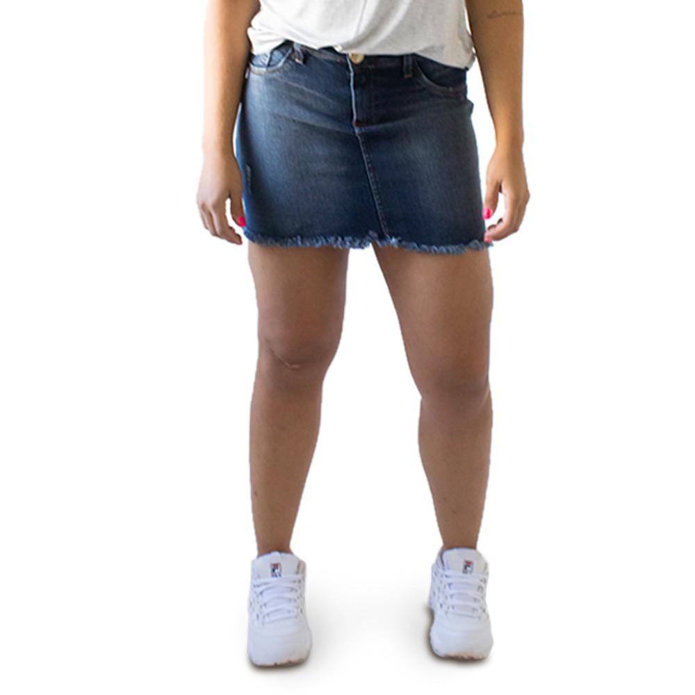 Saia Feminina Jeans Curta Barra Desfiada Anticorpus