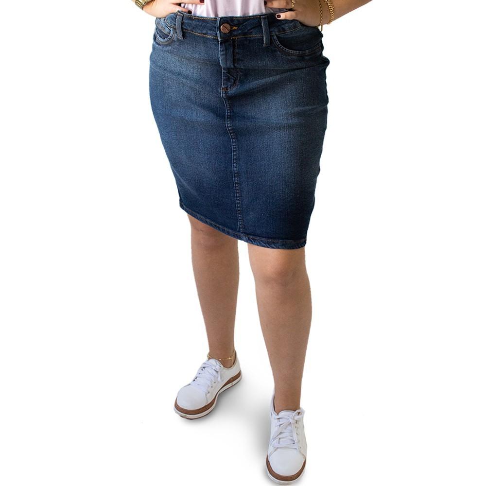 Saia Feminina Midi Jeans Escuro Plus Size Fenda Anticorpus