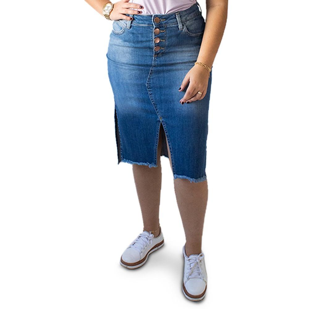 Saia Jeans Feminina Midi Fenda Barra Desfiada Anticorpus
