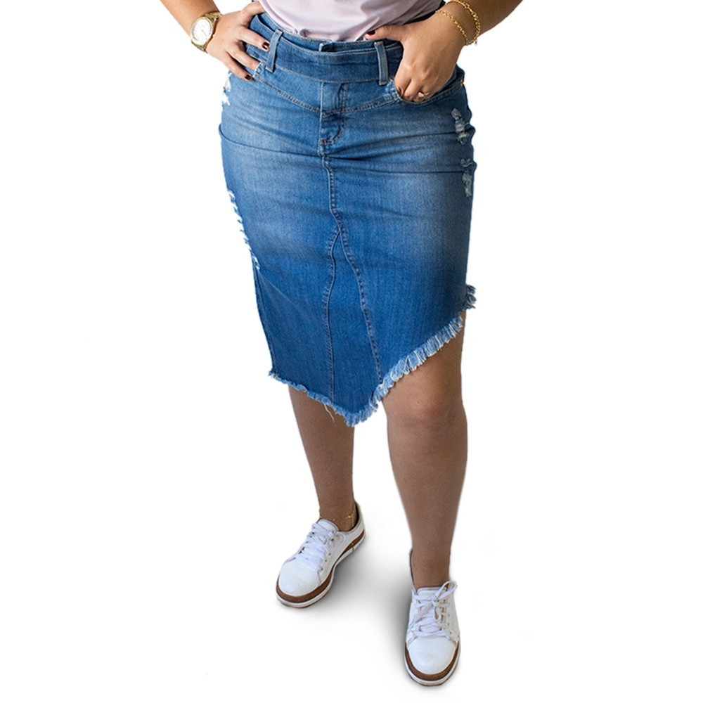 Saia Jeans Feminina Midi Fenda Destroyed Desfiada Anticorpus