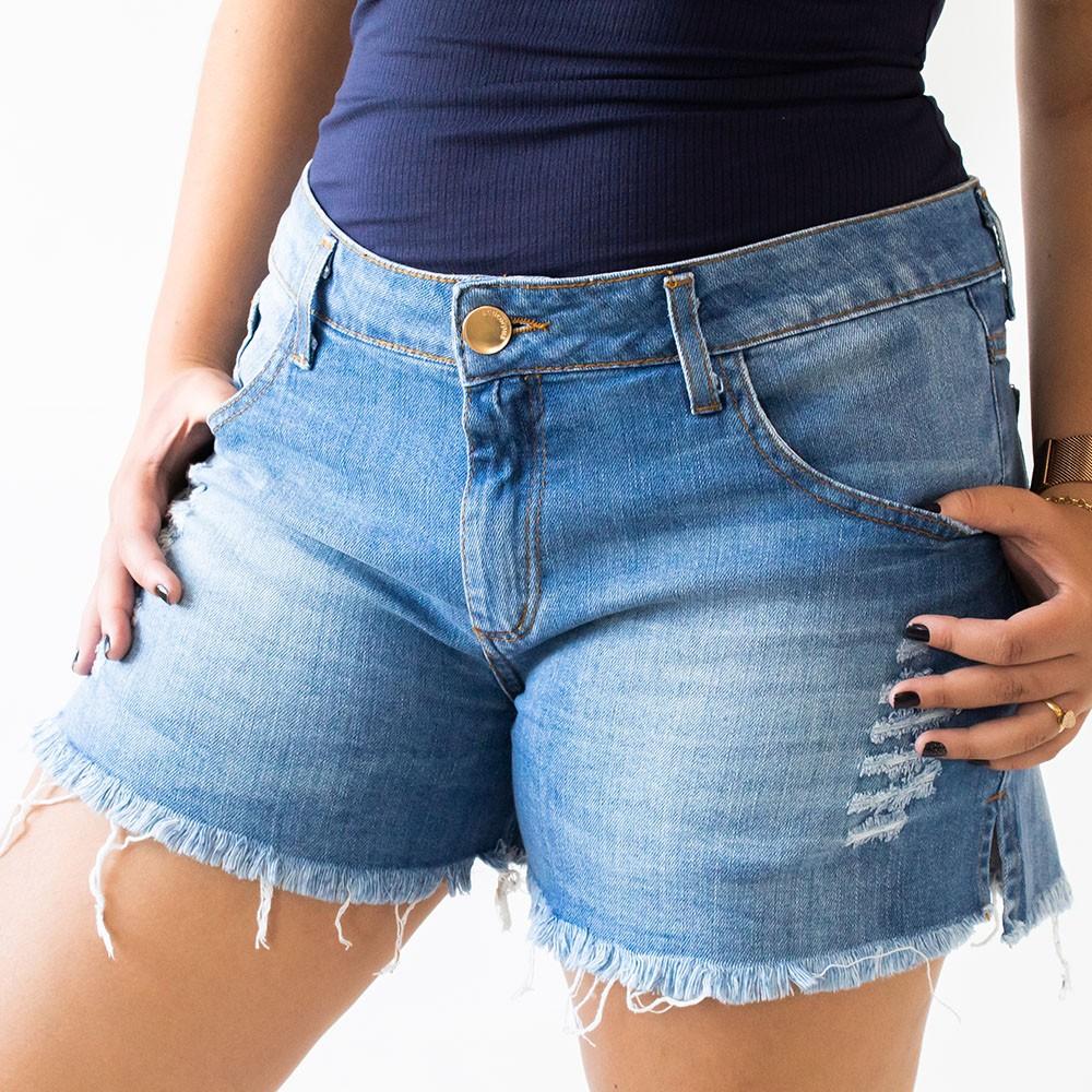 Short Boyfriend Destroyed Feminino Jeans Barra Desfiada Anticorpus