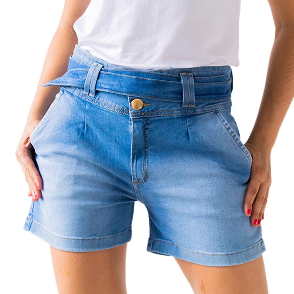 Short Clochard Feminino Jeans Cintura Alta Cinto Anticorpus