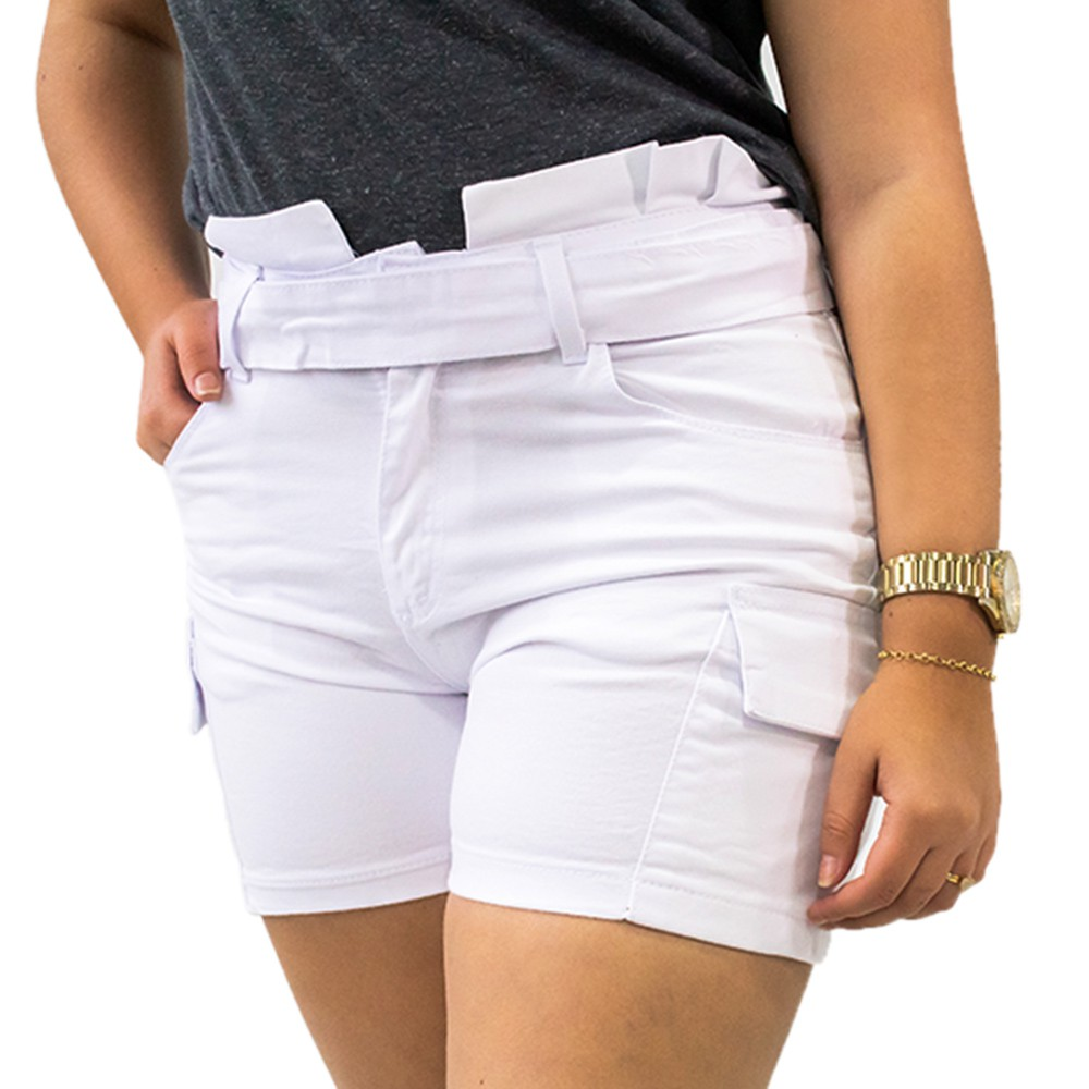 Short Clochard  Jeans Branco Feminino Alta Cinto Anticorpus