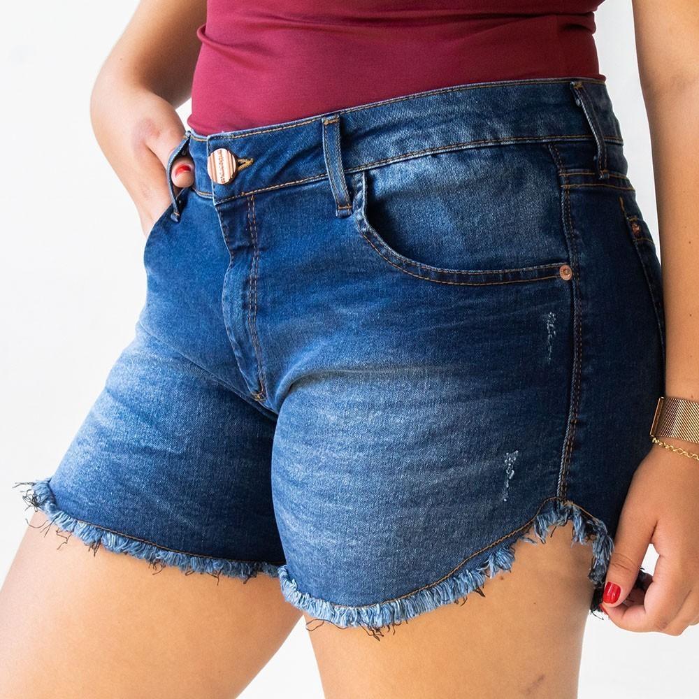 Short Jeans Escuro Plus Size Feminino Barra Desfiada Anticorpus