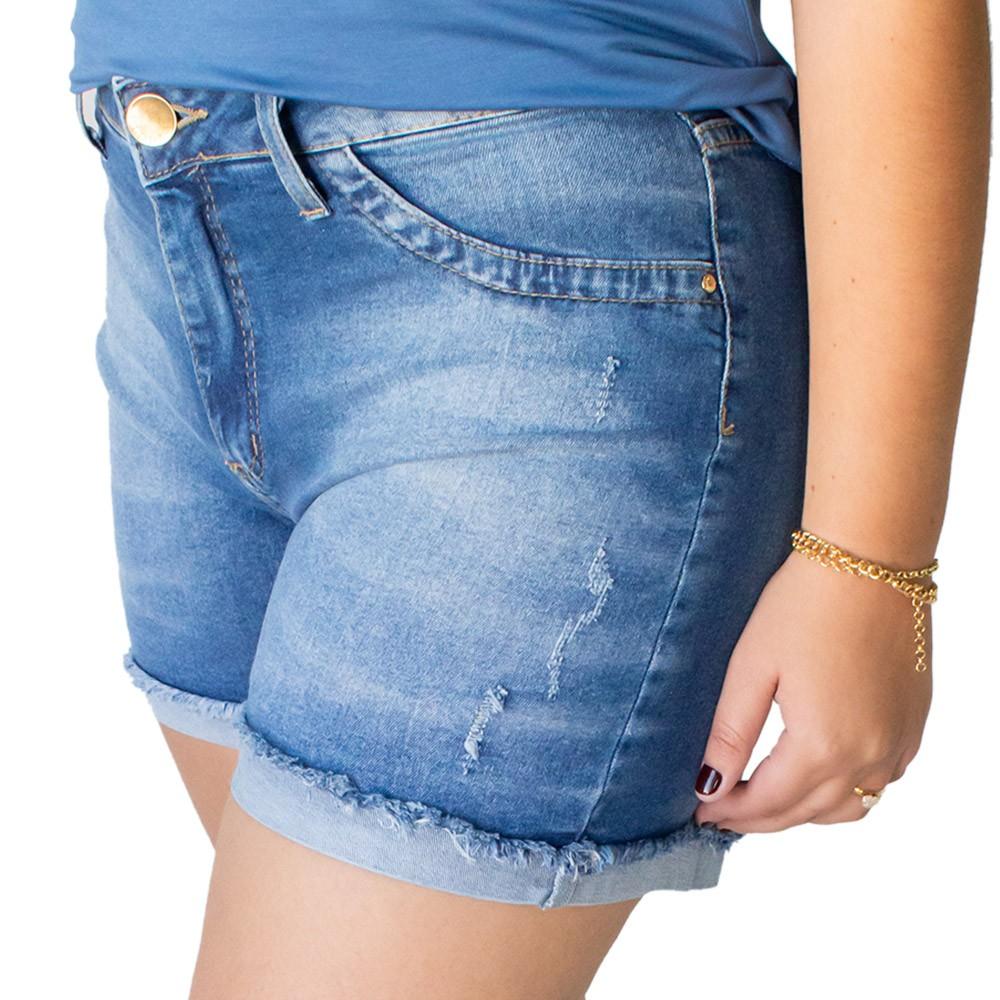 Short Jeans Feminino Alto Puído Barra Dobrada Desfiada Anticorpus