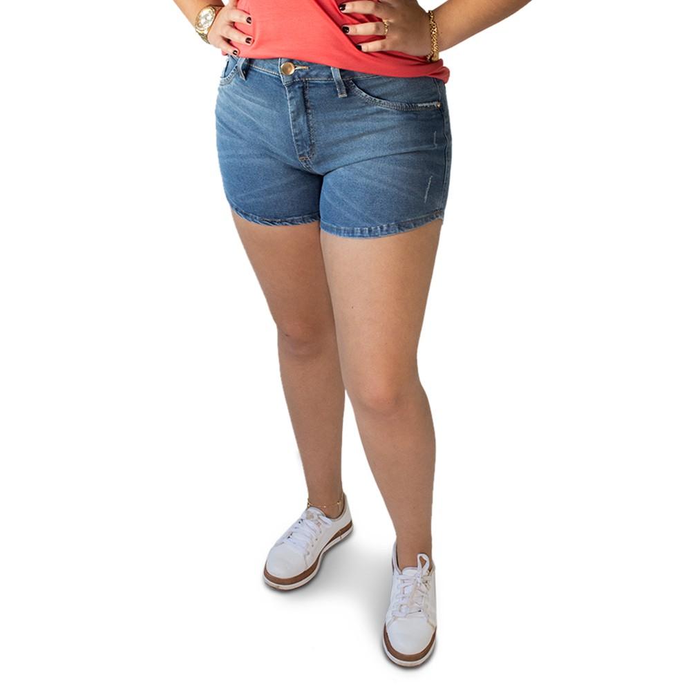 Short Jeans Feminino Cintura Alta Puídos Elastano Anticorpus