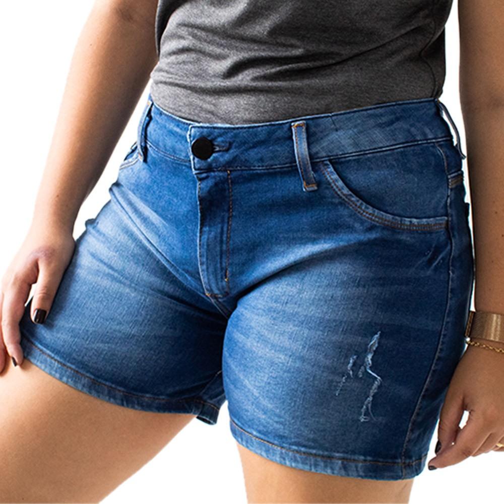 Short Plus Size Jeans Feminino Alto Puídos Anticorpus