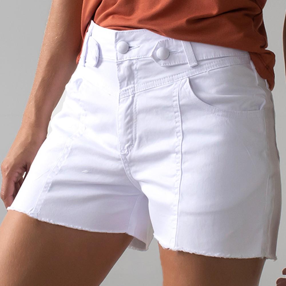 Short Sarja Branco Feminino Alto Barra Desfiada Anticorpus