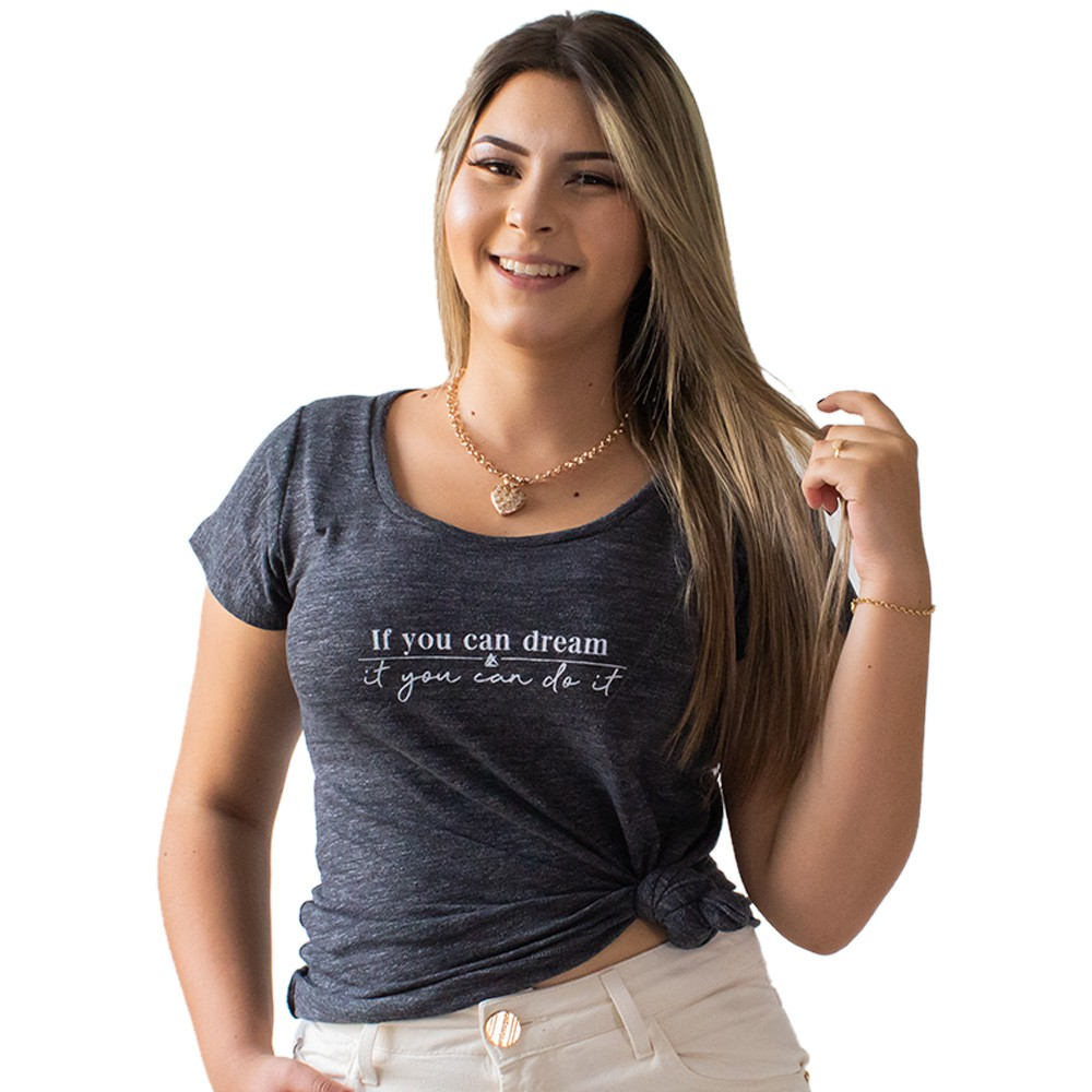 T-Shirt Feminina Flamê Estampa If You Can Dream Anticorpus