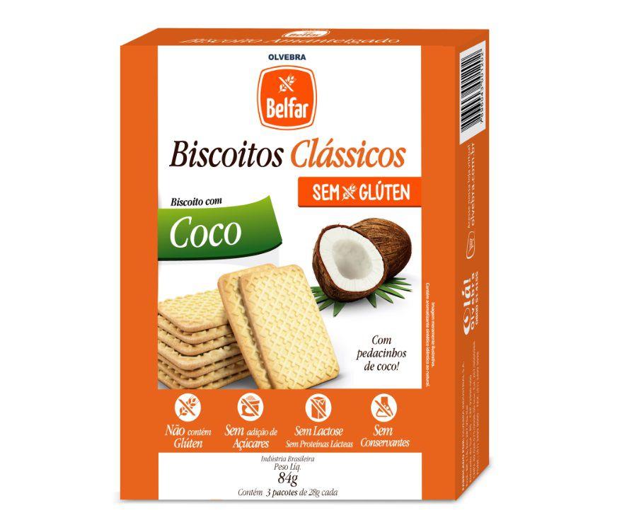 Biscoito Clássico Coco Belfar 86g - Cartucho com 3 Unidades