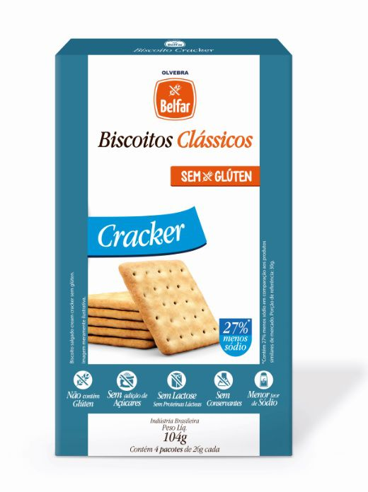 Biscoito Clássico Cracker Belfar 104g - Cartucho com 4 Unidades
