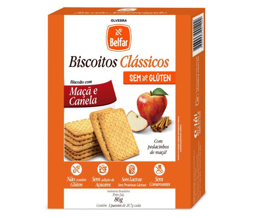 Biscoito Clássico Maçã e Canela Belfar 86g - Cartucho com 3 Unidades