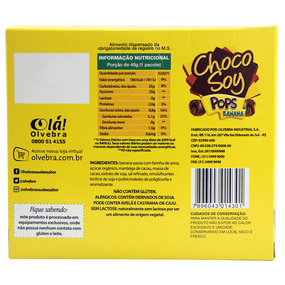 Choco Soy Pops Banana 40g - Display Com 20 Unidades