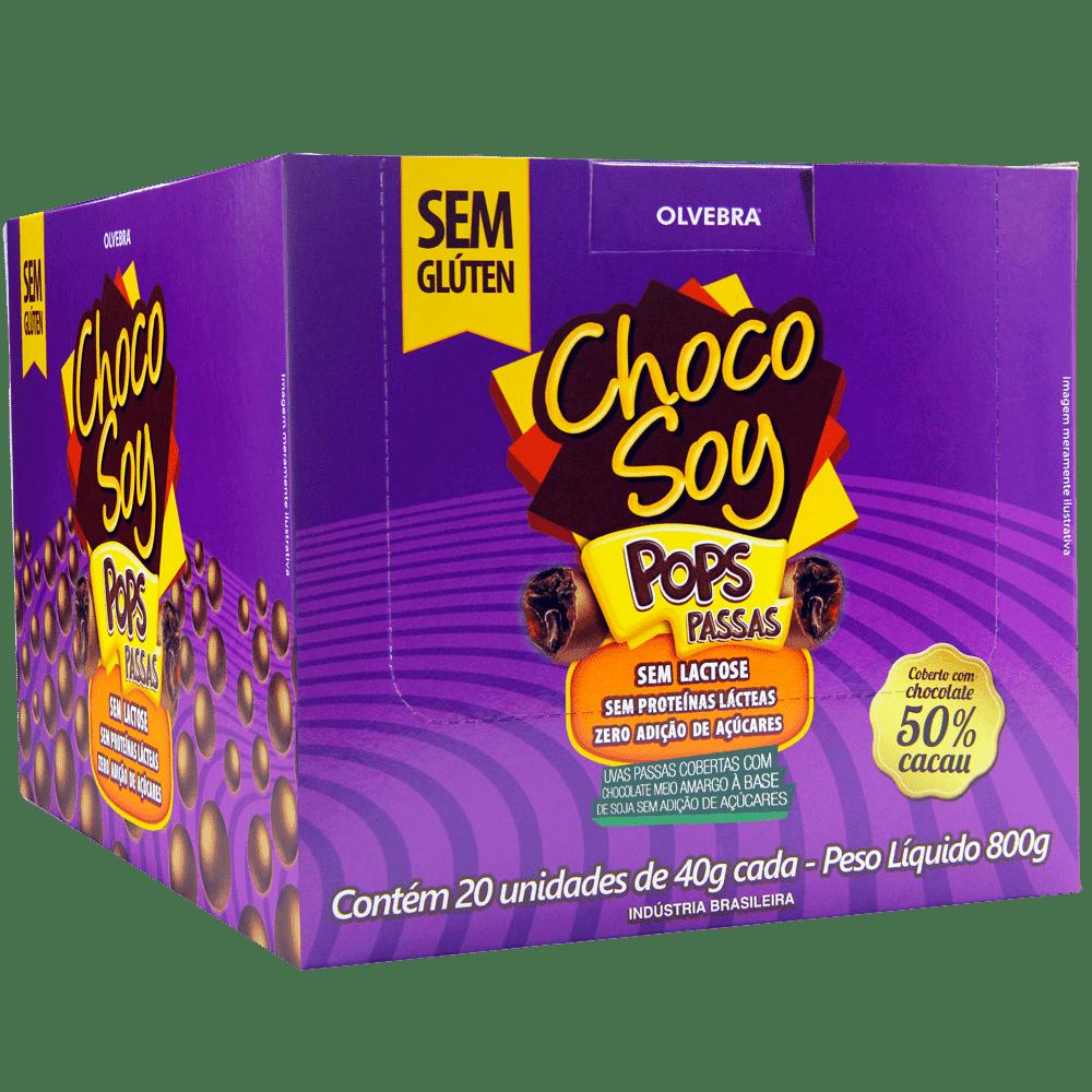 Choco Soy Pops Passas 40g - Display Com 20