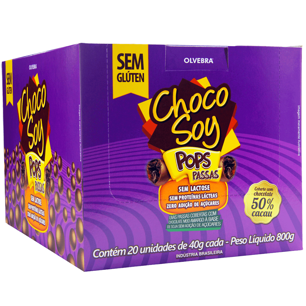Choco Soy Pops Passas 40g - Display Com 20 Unidades