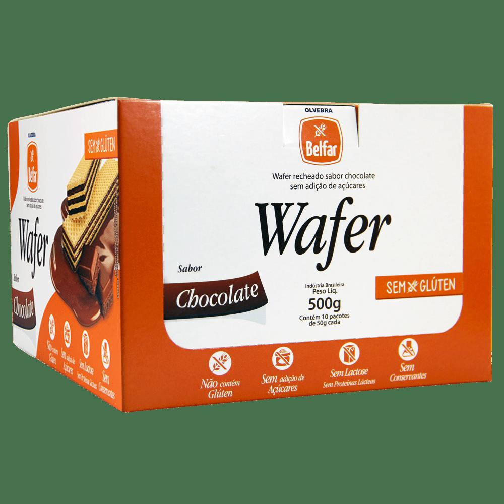 Wafer sabor Chocolate Belfar 50g - Display com 10 Unidades