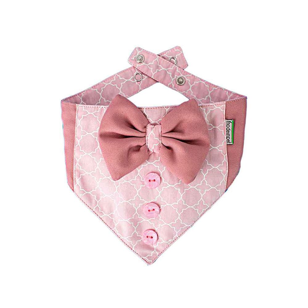 Bandana Modernpet Gravata Borboleta Rosa Bebê para Cães