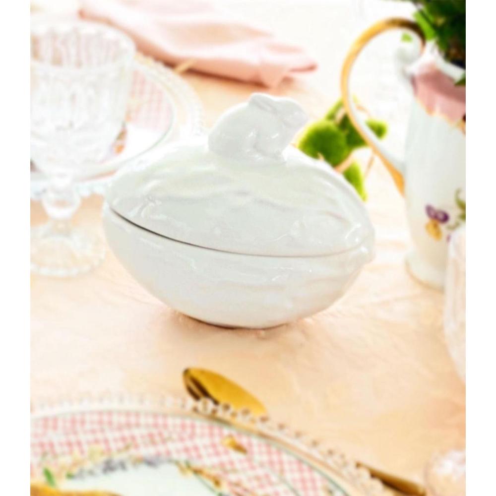 Bomboniere Decorativo Scalla Pascoa Bunny em Cerâmica - Branco