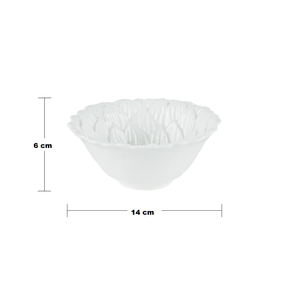 Bowl de Porcelana Daisy Branco 14x6cm