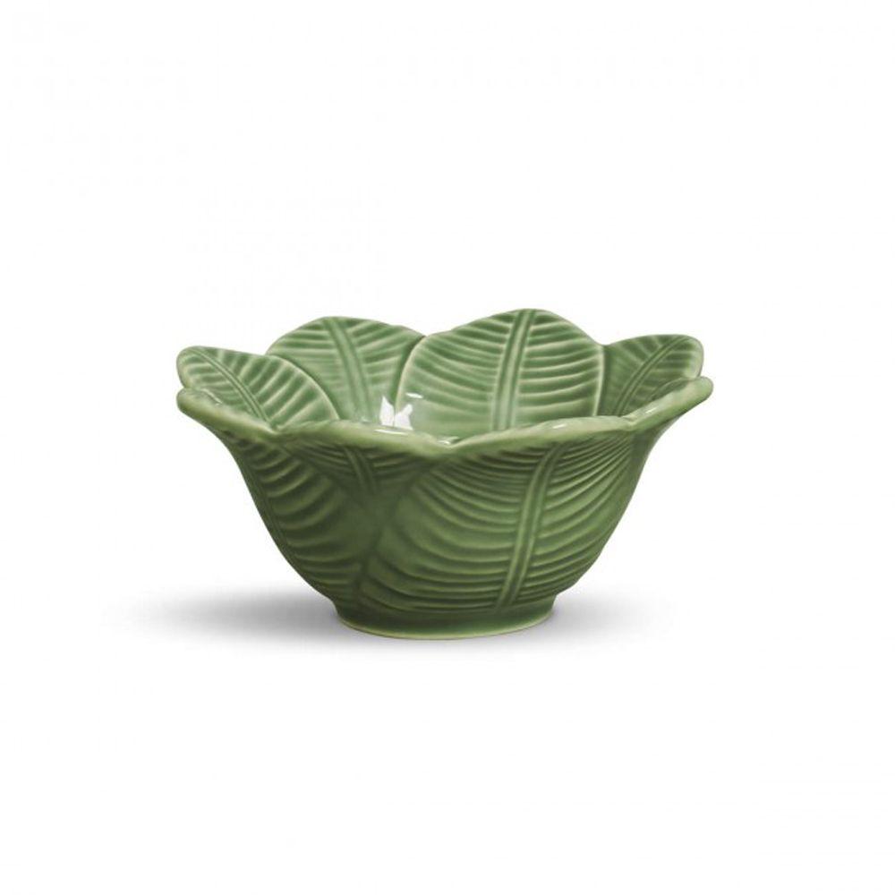 Bowl Leaves Salvia Em Ceramica - Conjunto de 6 Peças - 372 ml