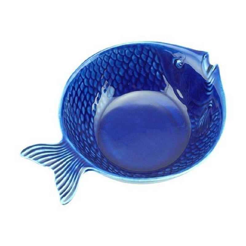 Bowl Peixe Ocean Azul em Cerâmica 20x14cm - Conjunto de 4 Unidades
