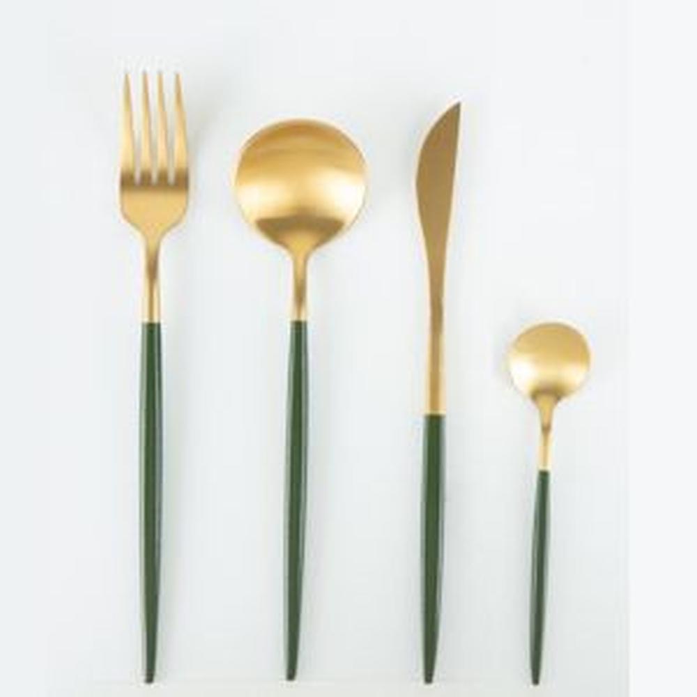 Faqueiro Kyoto Dourado/Oliva  em Aço Inox - Conjunto com 24 Peças