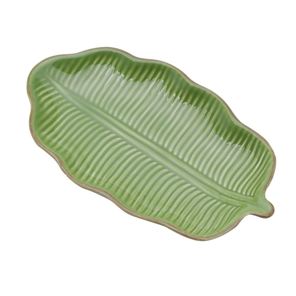 Folha Decorativa Banana Leaf Em Ceramica - Verde - 16x9x2 cm