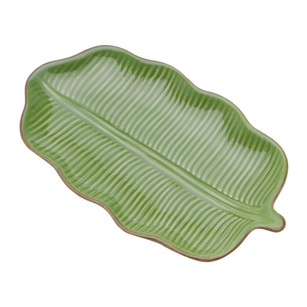 Folha Decorativa Banana Leaf Em Ceramica - Verde -  20x10,5 cm