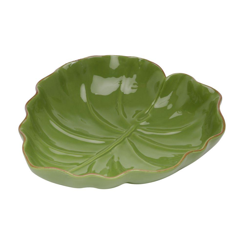 Folha Decorativa Banana Leaf Em Ceramica - Verde - 23,5x22 cm