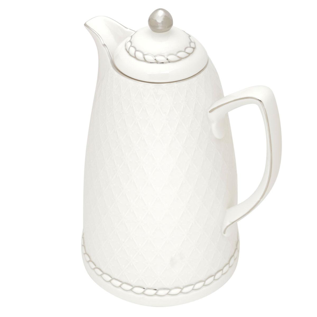 Garrafa Térmica de Porcelana  Renda Branca 28cm - 900ml