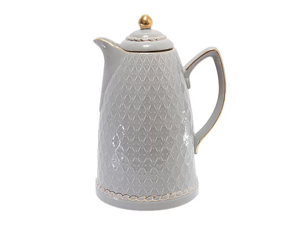 Garrafa Térmica de Porcelana  Renda Cinza 28cm - 900ml